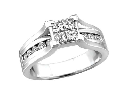 Princess Collection .50ct 14kt white gold Quad Engagement Ring BH-ERG00037