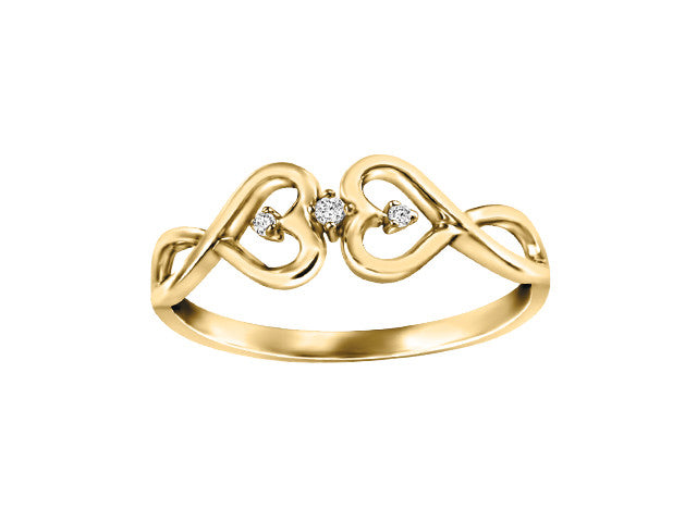 Different By Design Diamond Twin Heart Vine Ring in 10kt Yellow Gold BH-LR00016