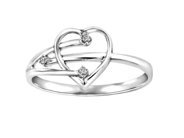 Different By Design Diamond By-Pass Three Stone Heart Ring in 10kt White Gold BH-LR00018