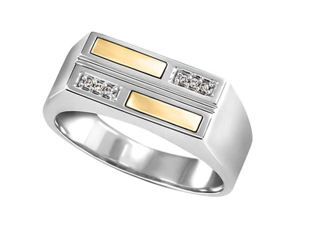 Silver Rectangle channel set diamond ring in 10kt Yellow Gold BH-LR00020