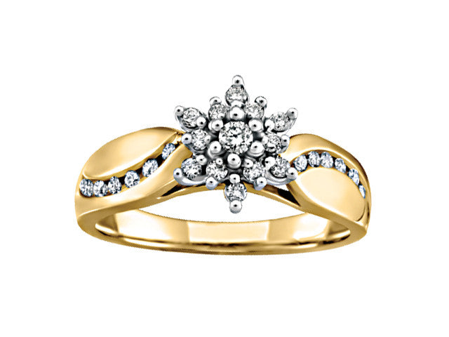 10K yellow gold snowflake cluster ring
