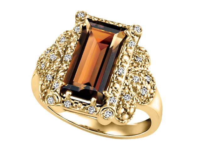 Emerald-Cut Diamond Stylish Ring in 10 kt  Yellow Gold BH-LR00049