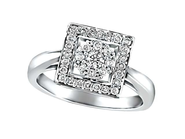 Illusion-Set Diamond Frame in 10kt White Gold 0.43ct BH-LR00053