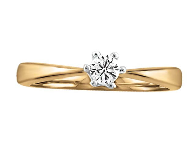 05ct Solitaire Canadian Diamond Ring in 10kt Yellow Gold BH