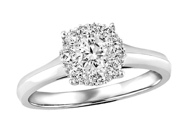 Radiant .50ct Illusion Set Diamond Ring in 10kt White Gold BH-LR00062