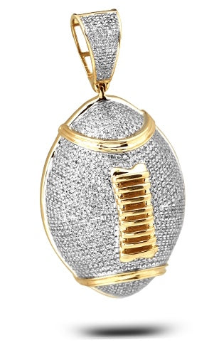 10K 2CTW Diamond Football Pendant