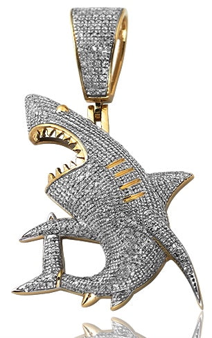 10K 1.00 CTW Diamond Shark Pendant