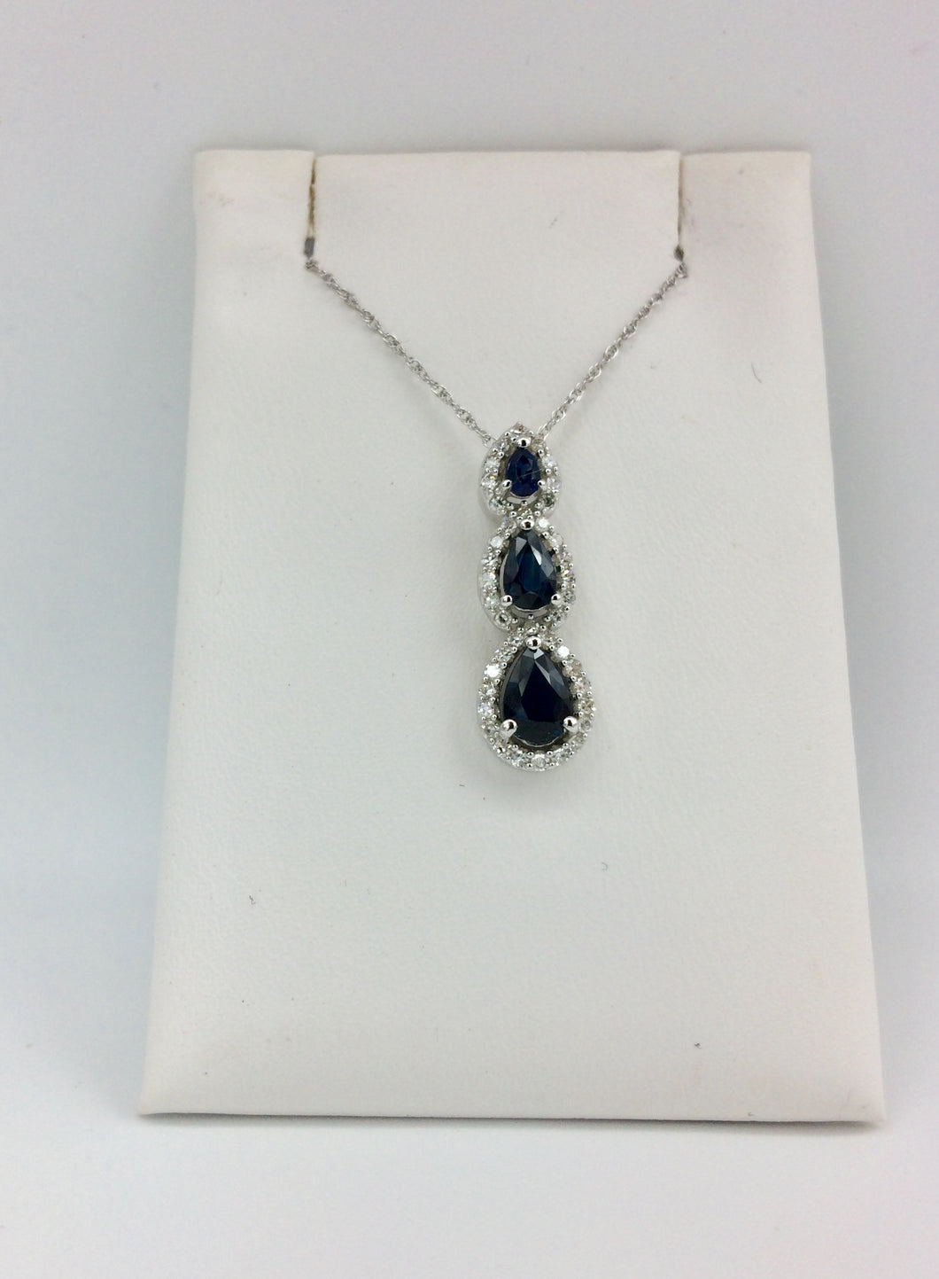10K White Gold Sapphire Necklace