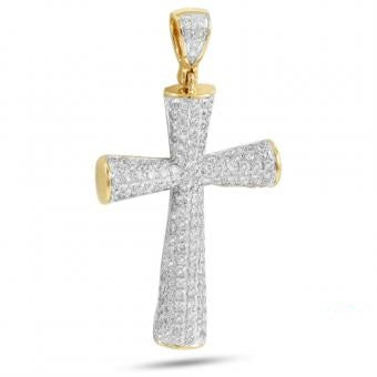 10KY 2.50ctw Diamond Rounded Cross Pendant  CR0266YAG