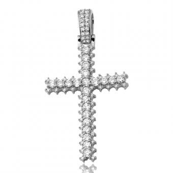 14KW 1.50ctw Diamond Cross with 3-Prong Diamond Border CR0363WAG