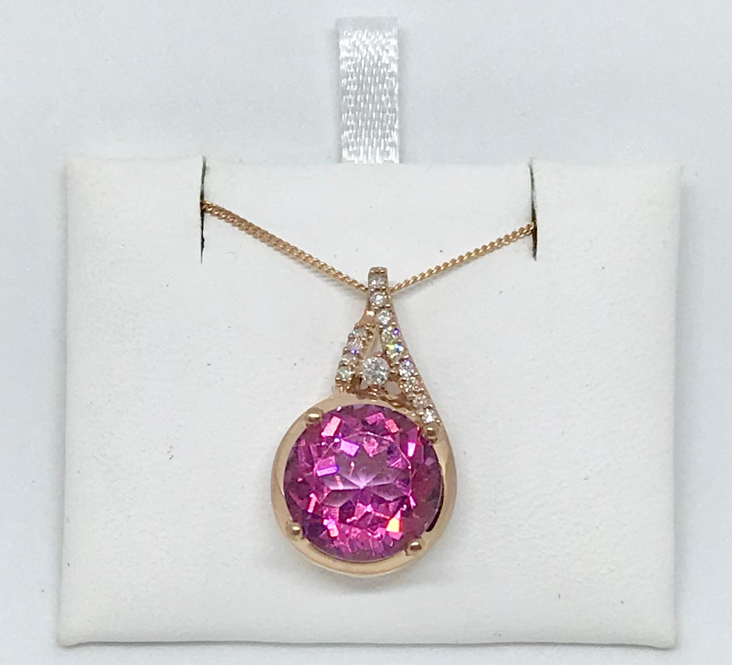 10Kt Pink Canadian Diamond Pendant & Necklace