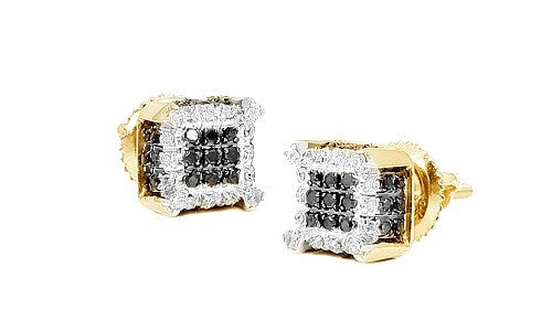 10KY Men's 0.30ctw Black and White Diamond Dice Earrings DC0630YAGGSJ
