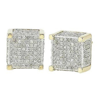 10K Men's Yellow Gold 1.00ctw Diamond Dice Earrings DC1004YAGGSJ