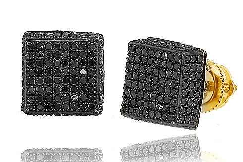10K Men's Yellow Gold 1.00ctw Black Diamond Dice Earrings DC3009YAGGSJ