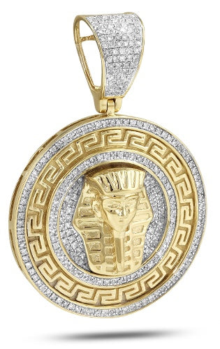 10K 0.75 TDW Diamond Greek Key Pharoah Medallion