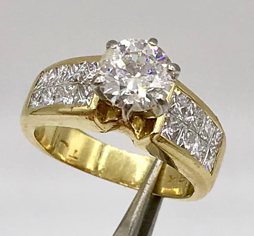 18K Yellow and White Gold 2.15Ct TDW Engagement Ring