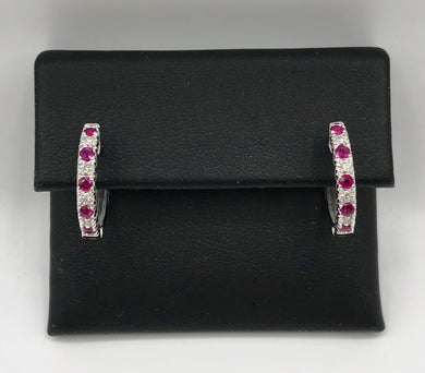 10K Ruby Hoop Earrings