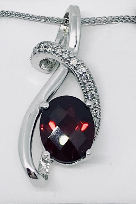 14Kt WG Canadian Diamond & Genuine Garnet Pendant and Necklace
