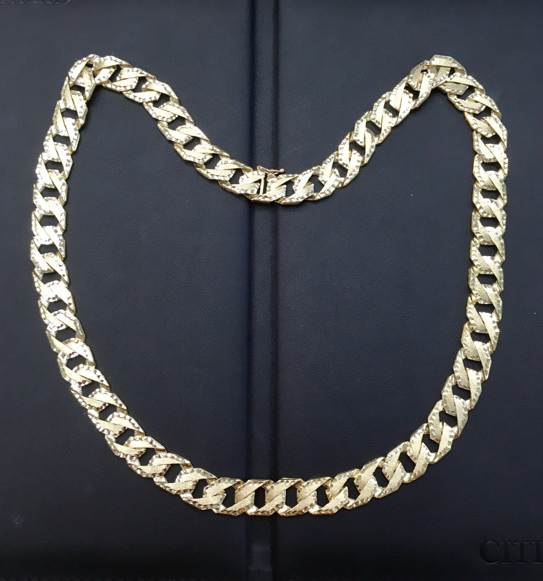 10kt Yellow Gold Double Sided Diamond Cut Curb Link Chain MON0621171GSJ