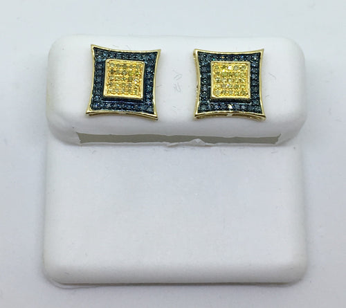 10K Yellow Gold Men's Blue Diamond Kite Earrings MCDC0493YGSJ