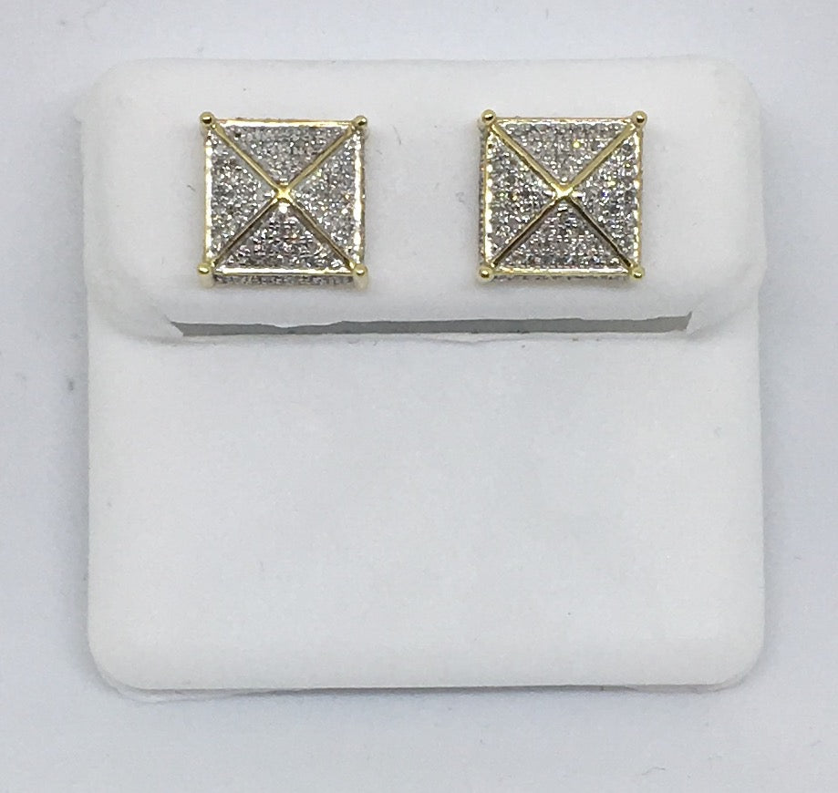 10K Yellow Gold Men's Diamond Dice Earrings MCSC0380YGSJ