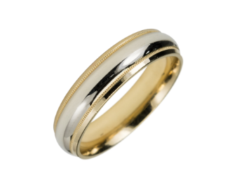 10KT 2-Tone Super Light Wedding band MCWBSLA1025