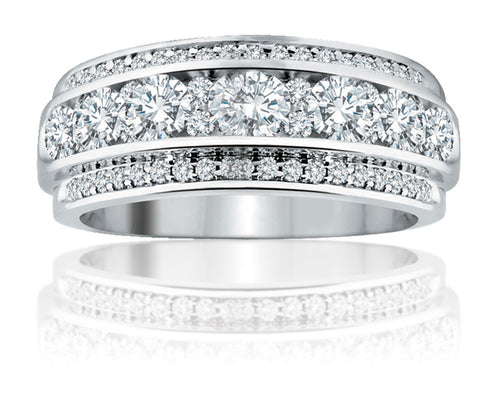 14kt White Gold Diamond Anniversary Band Featuring 1ct tdw