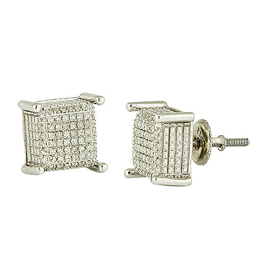 10K Men's White Gold 0.25ctw Diamond Dice Earrings AGSC0353W