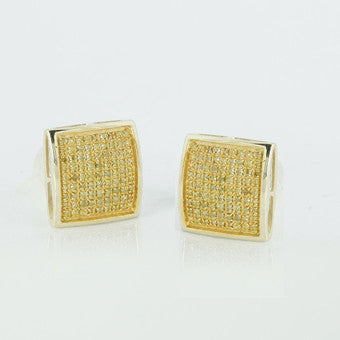 10KY Men's 0.50ctw Yellow Diamond Dome Earrings SC3550YAGGSJ