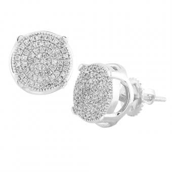 10K Men's White Gold 0.30ctw Diamond Concave Disc Earrings SC4683WAGGSJ
