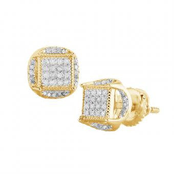 10K Men's Yellow Gold 0.25ctw Diamond Disc Earrings SC4692YAGGSJ