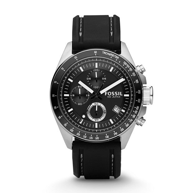 FOSSIL DECKER CHRONOGRAPH BLACK SILICONE WATCH CH2573