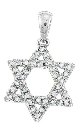 14KW 0.15ctw 'Star of David' Pendant