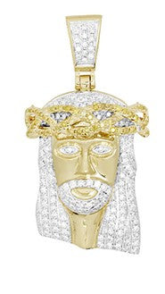 10KY 1.50ctw Yellow and White Diamond Jesus Pendant