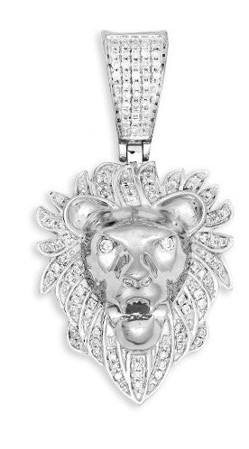 10KY 0.35ctw Diamond Lion Head Pendant (Pendants)