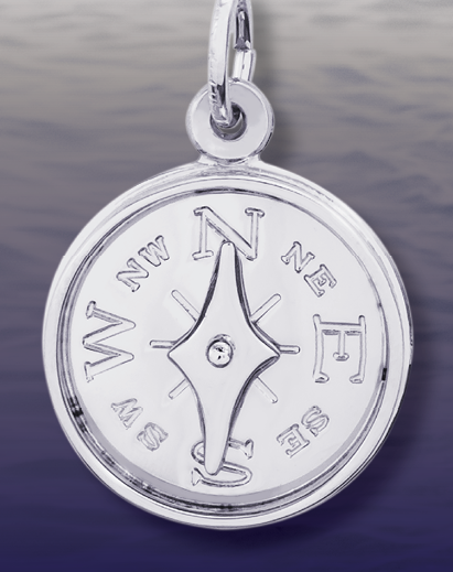 10Kt White Gold Compass Pendant