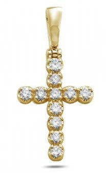 14KY 1.00ctw 11-Stone Diamond Cross Pendant