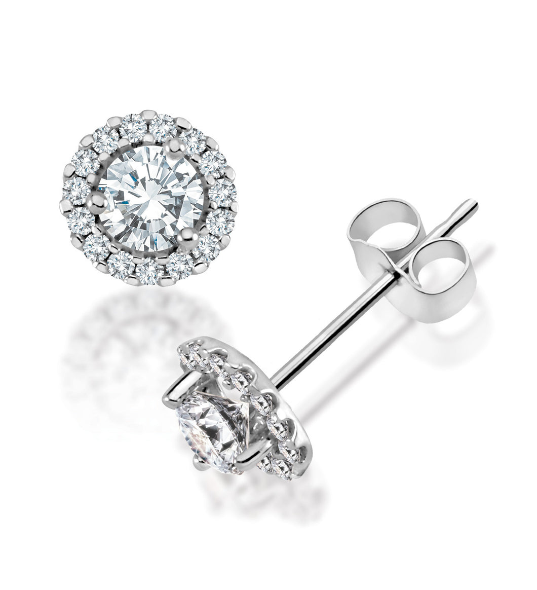 14Kt White Gold Canadian Diamond Halo Earrings