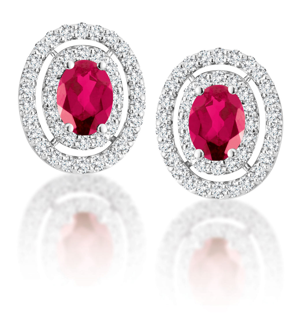 14Kt White Gold Ruby Double Halo Earrings