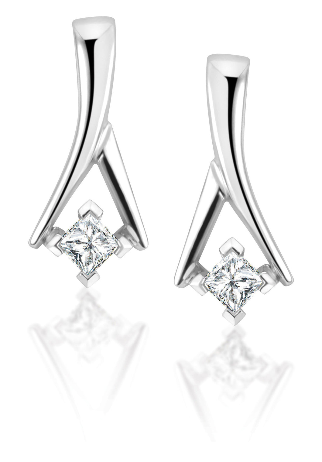 14Kt White Gold Diamond Earrings ELU19064DWP2