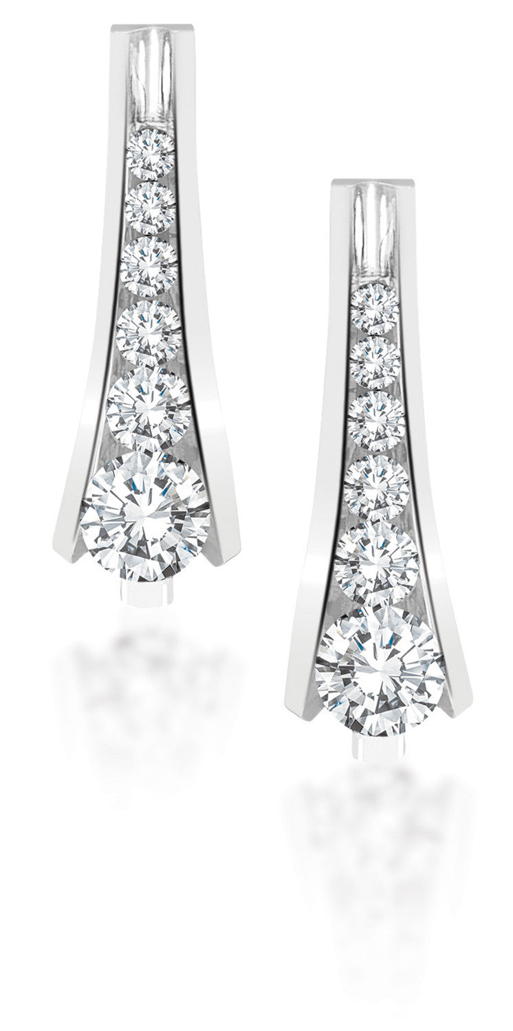 10Kt White Gold Cascading Diamond Earrings