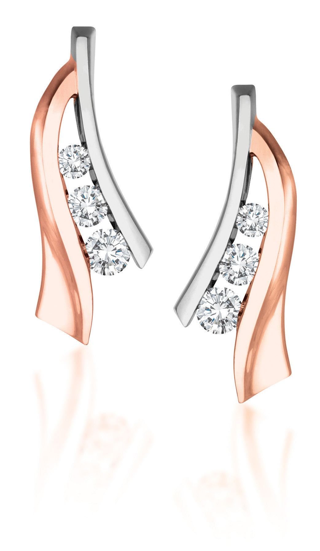 10Kt White and Rose Gold Diamond Earrings