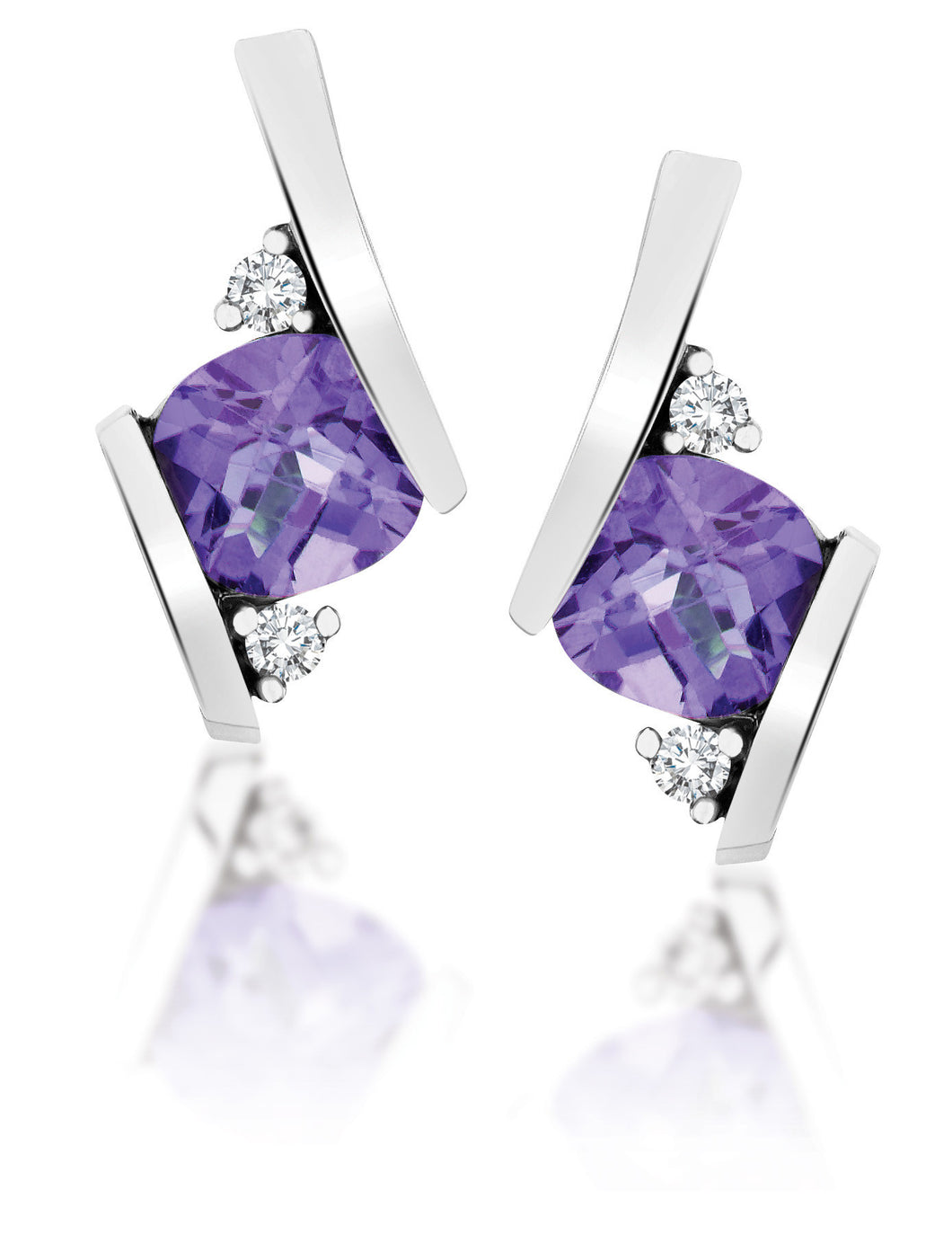 10Kt White Gold Amethyst Diamond Earrings