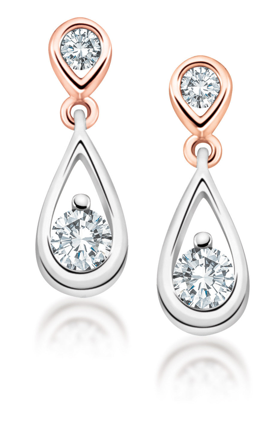 10Kt White Gold Diamond Drop Earrings with Rose Gold Accent