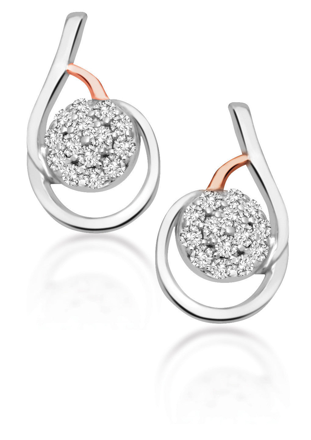 10Kt White Gold Earrings with Diamond Cluster Center and Rose Gold Accent