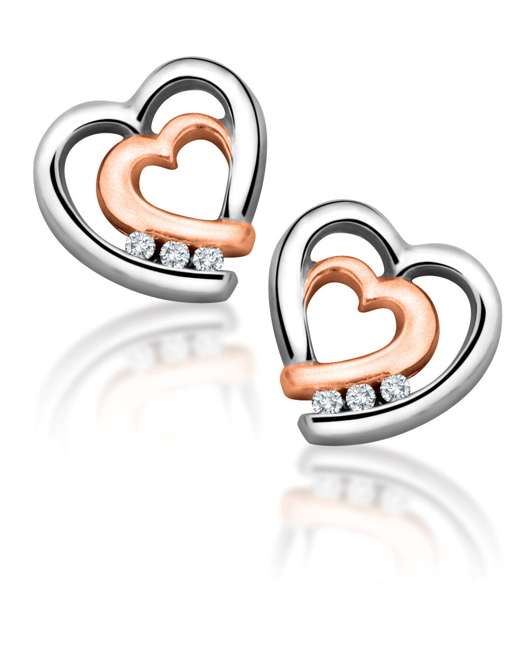 10Kt White Gold Heart Shaped with Rose Gold Accent Diamond Earrings