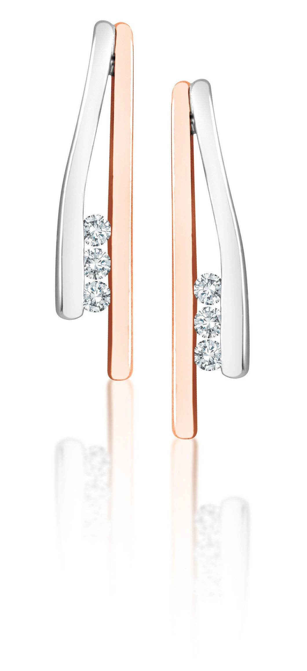 10Kt White and Yellow Gold Diamond Stick Earrings