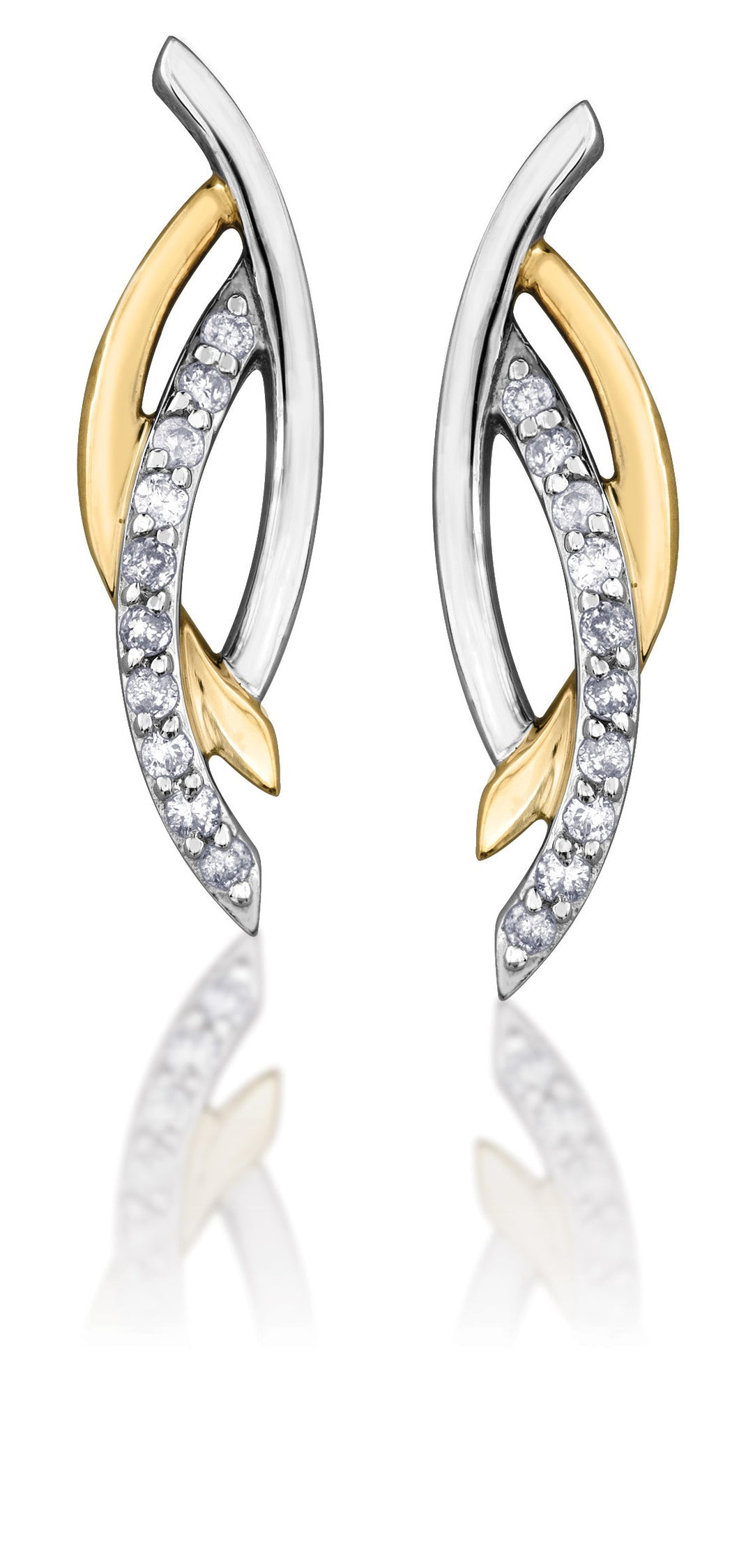 10Kt White and Yellow Diamond Earrings