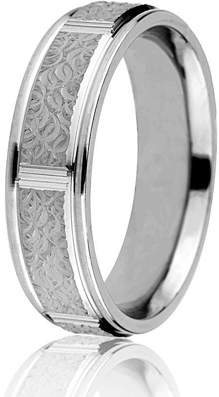 6mm  Comfort Fit Engraved Wedding Band-Style#: FL6-872
