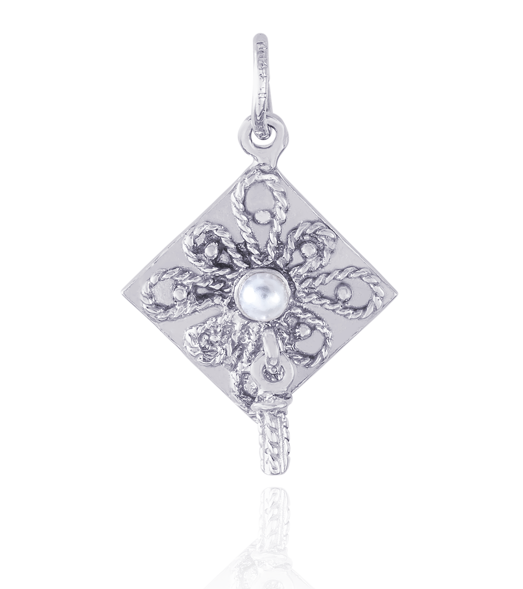 10Kt White Gold graduation Cap with Pearl Center Pendant